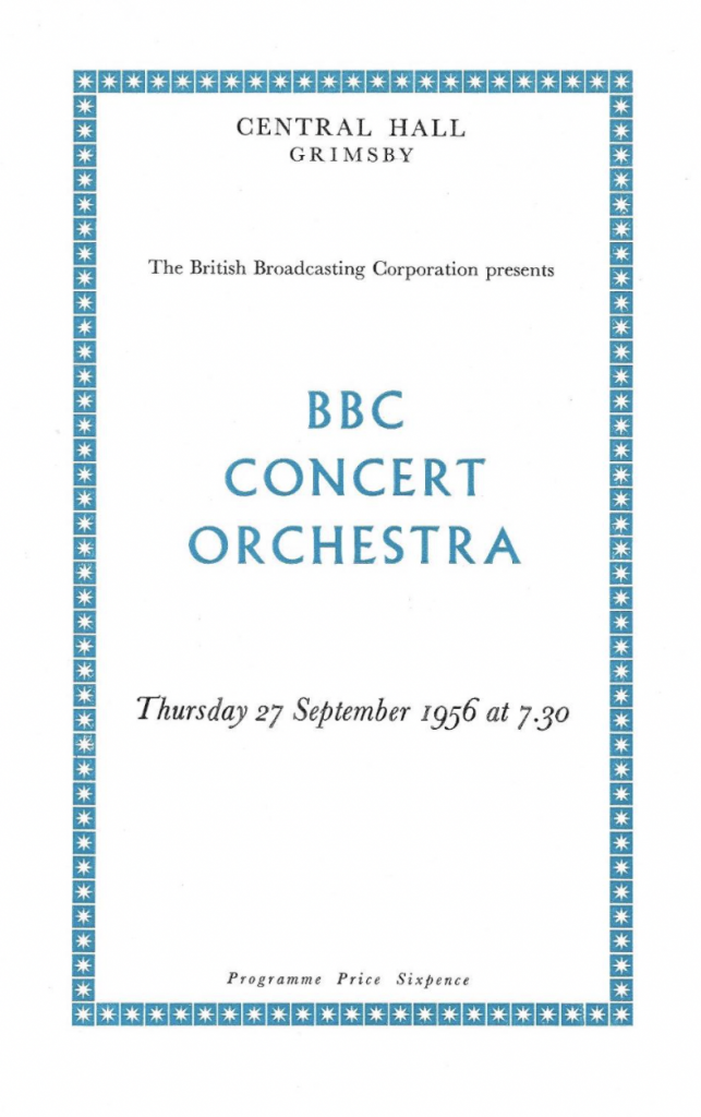 BBC Concert Orchestra at Grimsby Central Hall 27th Semptember 1956