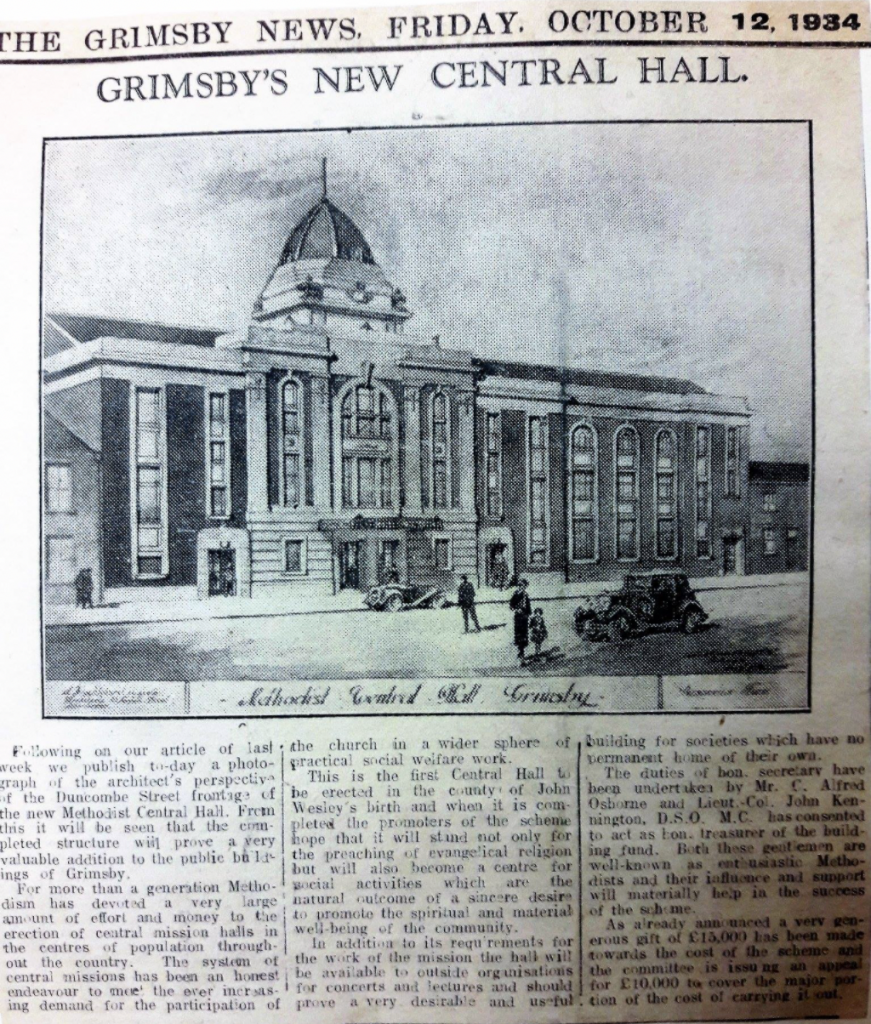 Articles from the Grimsby Telegraph relating to the opening of Central Hall.